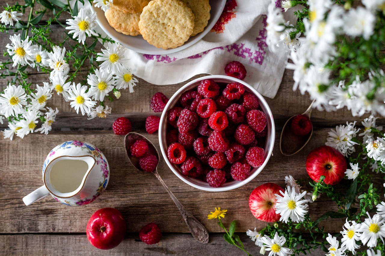 berries and biscuits